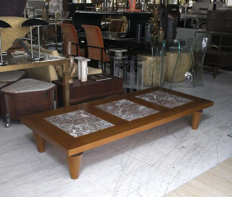 Mid Century Modern Large Rectangular Coffee Table On Heavy Legs With Marble  Inserts For Sale