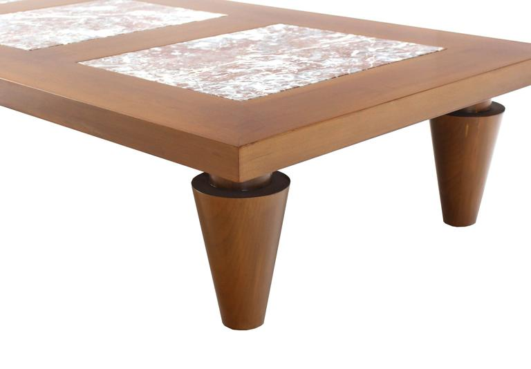 Rectangular Coffee Table on Heavy Legs with Marble