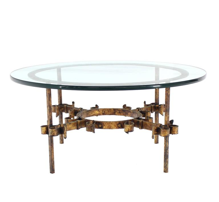 Gilded Wrought Iron Base Round Coffee Table For Sale At 1stdibs
