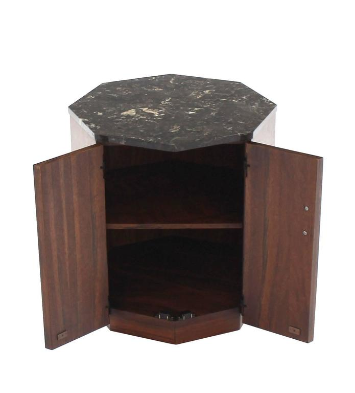 Octagon Marble Top Side Table With Compartment For Sale At