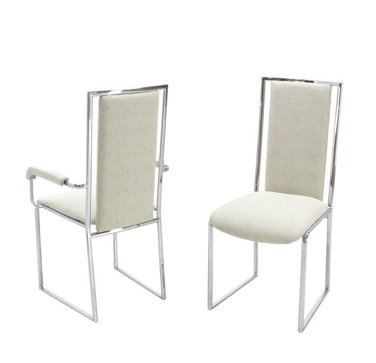 New Upholstery Six Mid Century Modern Chrome Dining Chairs For Sale At 1stdibs
