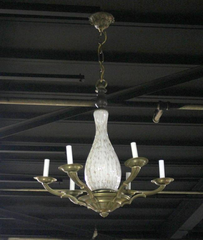 Very brass or bronze nice Mid-Century Modern light fixture chandelier.
