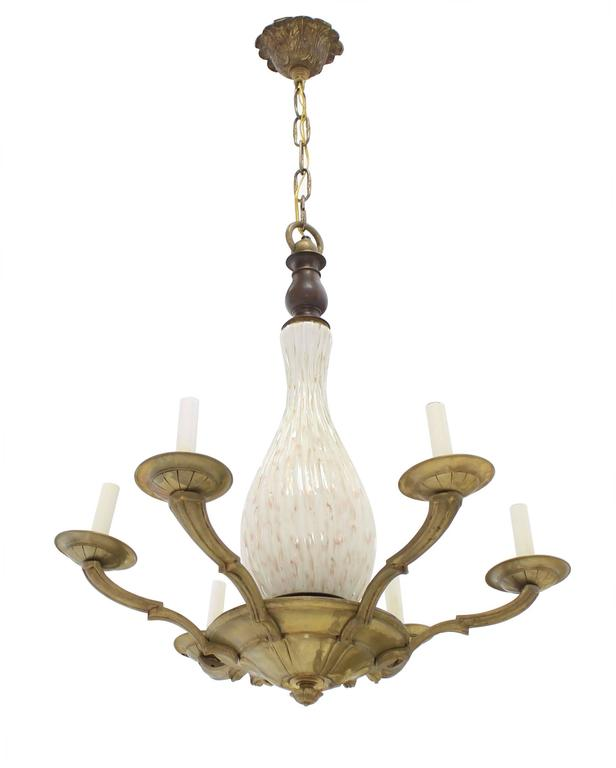 American Brass and Murano Glass 6 Arms Light Fixture Chandelier For Sale