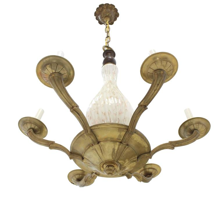 Brass and Murano Glass 6 Arms Light Fixture Chandelier For Sale 1