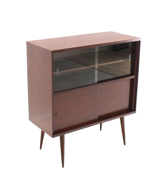American Mid Century Modern Walnut Cabinet With Sliding Glass Doors For Sale