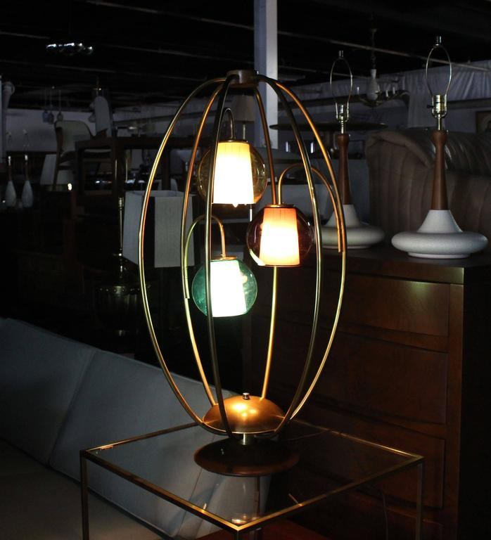 """Bamboo Oval Table Lamp: Oval """"Bird Cage"""" Brass Table Lamp Purple Blue Yellow Glass"""