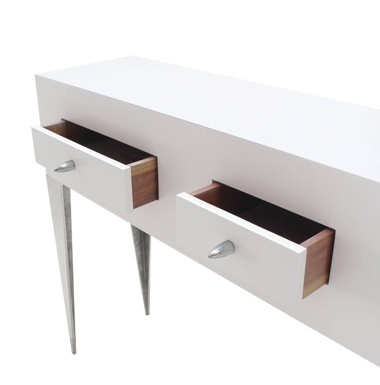 White Lacquer Console Table Cabinet Tall Tempered Legs