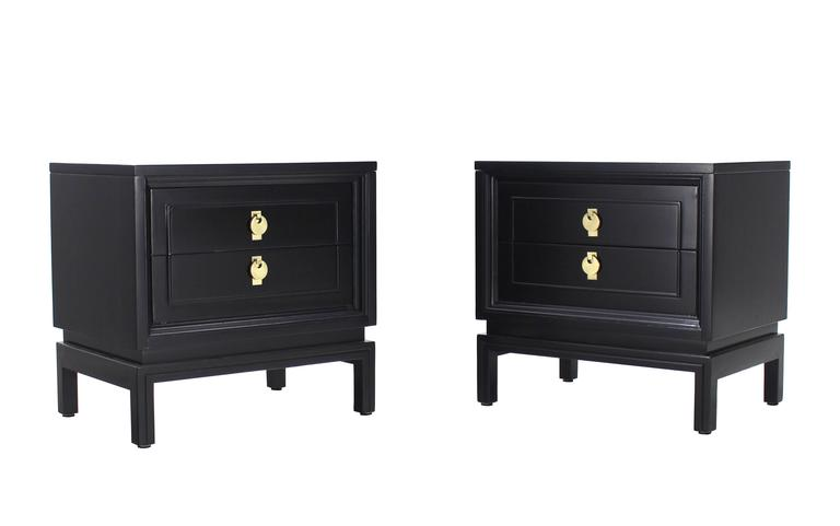 Pair Of Mid Century Modern Ebonized Black Lacquer End