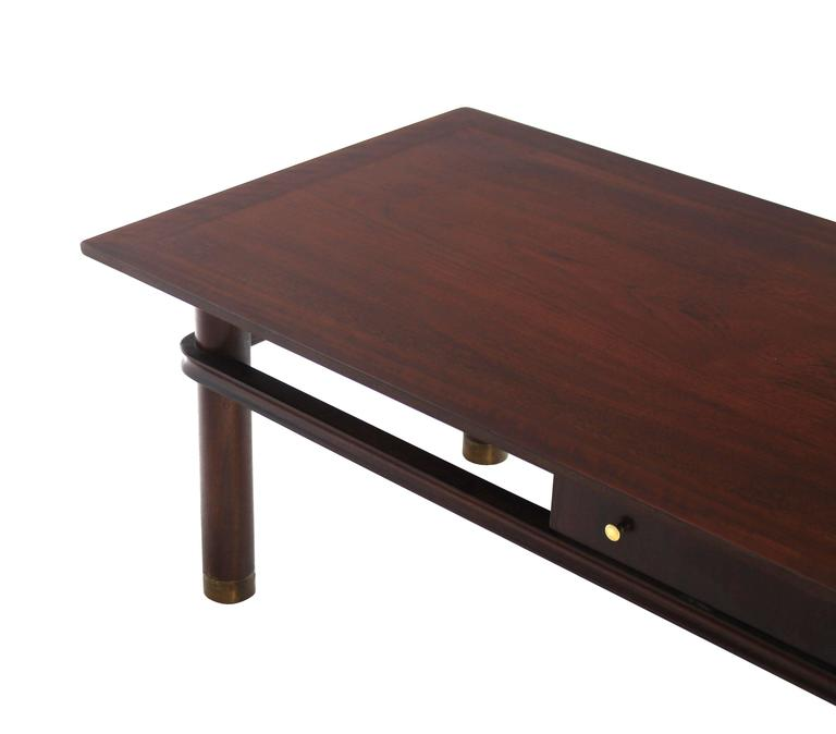 Long Mid Century Modern Walnut Coffee Table With Two