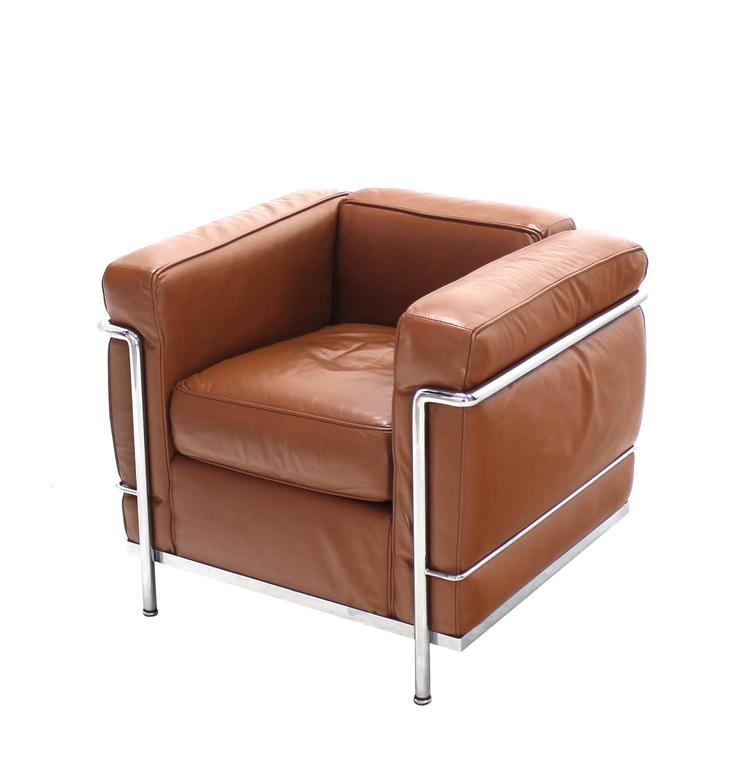 Le Corbusier LC2 Cassina Brown Leather Pair of Lounge Chairs For Sale at 1stdibs
