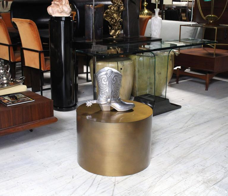 Round Glass Pedestal Coffee Table: Brass Or Bronze Cylinder Side Round Coffee Table Base