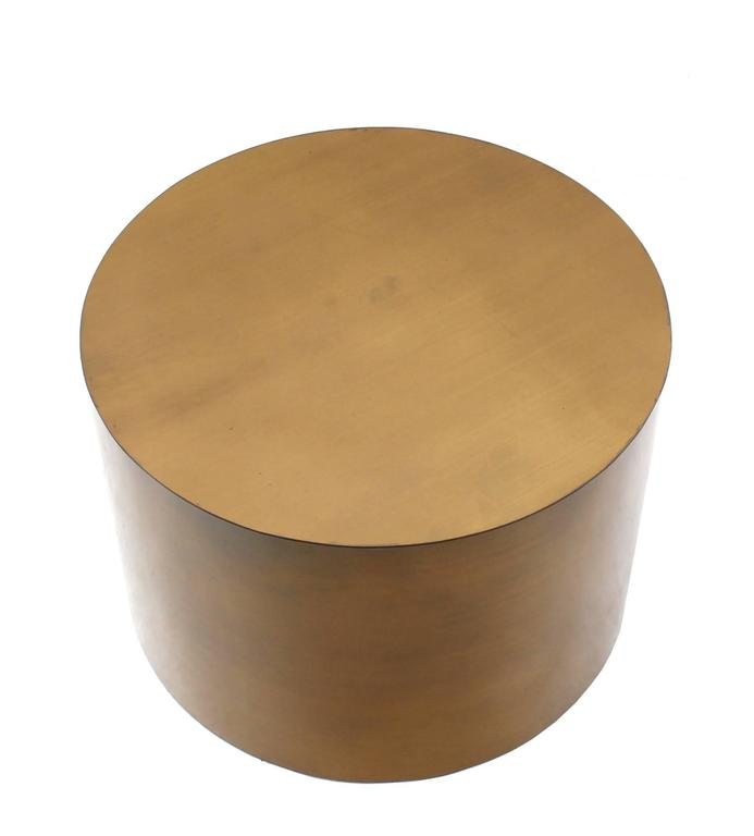 Mid Century Modern Br Or Bronze Cylinder Side Round Coffee Table Base Pedestal For