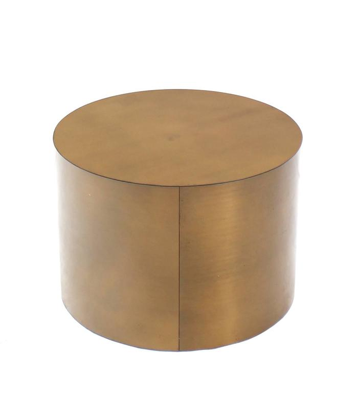 Bronze Metal Round Coffee Table: Brass Or Bronze Cylinder Side Round Coffee Table Base