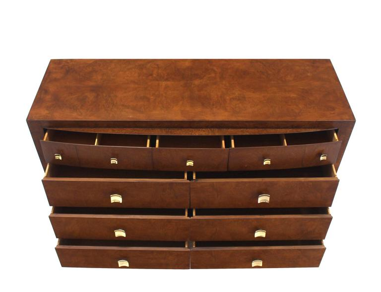 Burl Wood Walnut Br Hardware Pulls Art Deco Dresser Cabinet Chest Of Drawers For 2