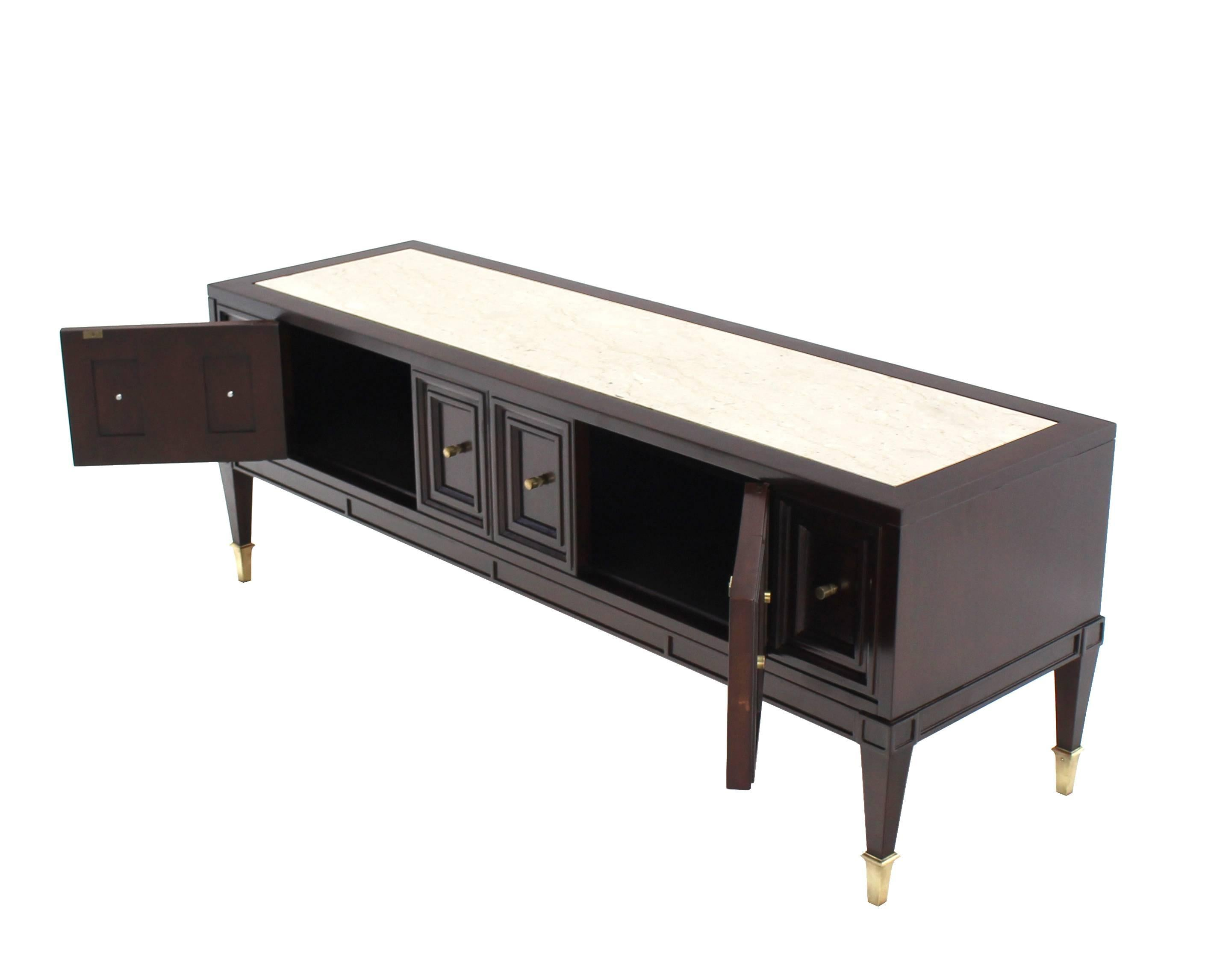 Credenza Dark : Dark walnut marble top low hall credenza with doors brass hardware