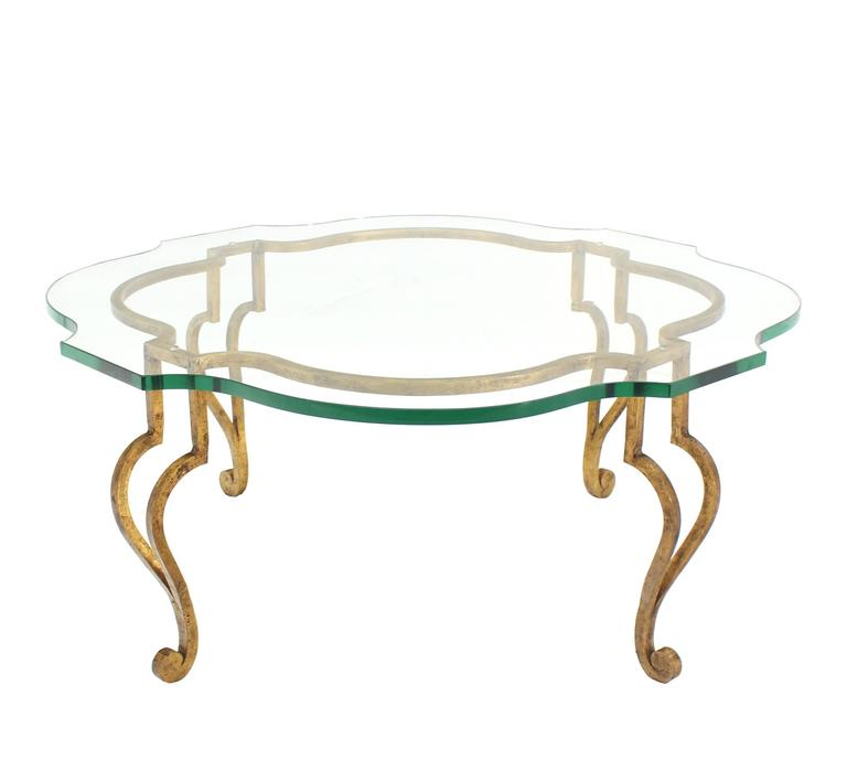 Metal Gilt Wrought Iron Thick Figural Glass Top Round Coffee Table  Hollywood Regency For Sale