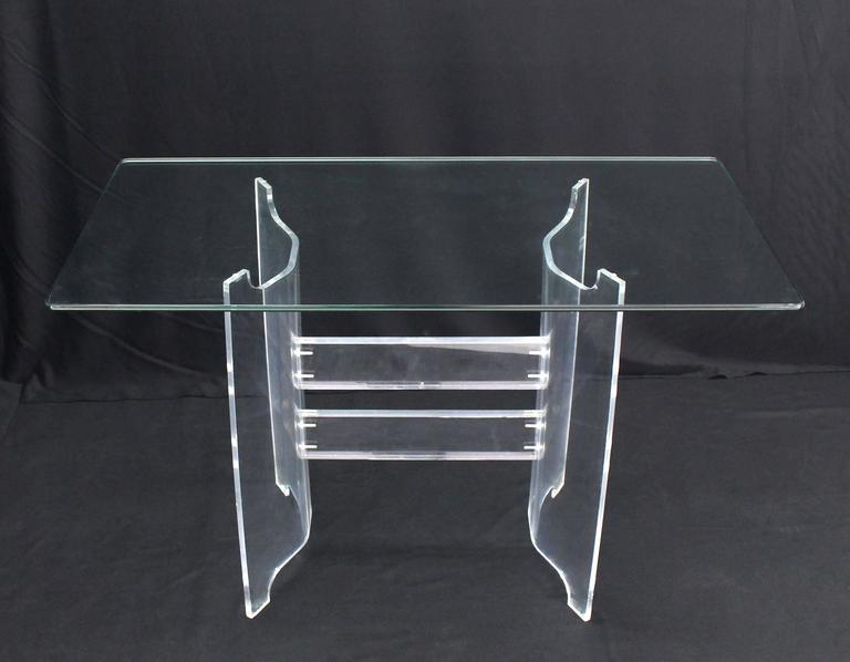Compact Dining Dinette Console Bent Lucite Base Glass Top Table 2