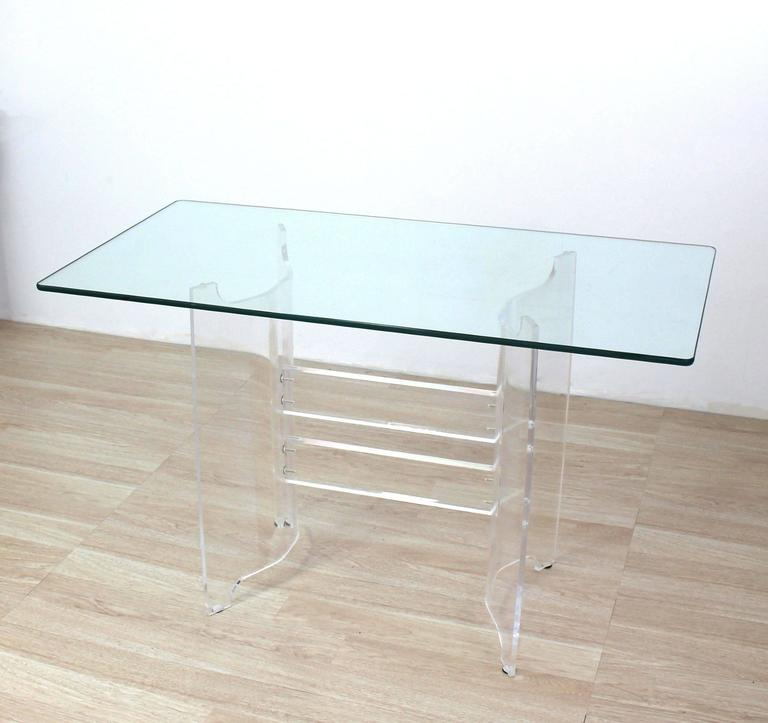 Compact Dining Dinette Console Bent Lucite Base Glass Top Table 3