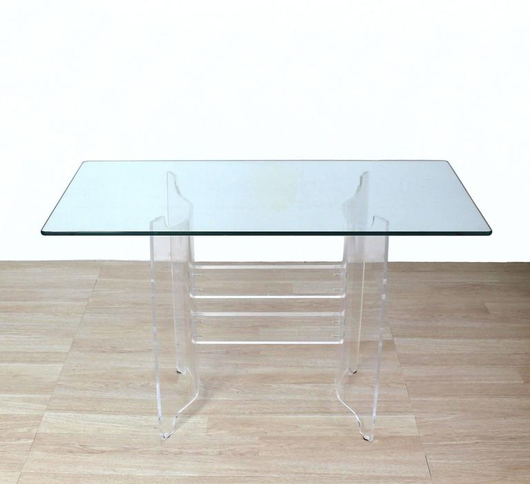 Compact Dining Dinette Console Bent Lucite Base Glass Top Table 6
