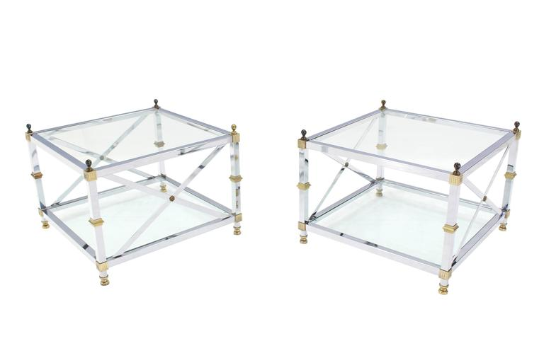 Ordinaire Mid Century Modern Pair Of Large Square Jansen Chrome Brass Glass Side End  Tables Mid