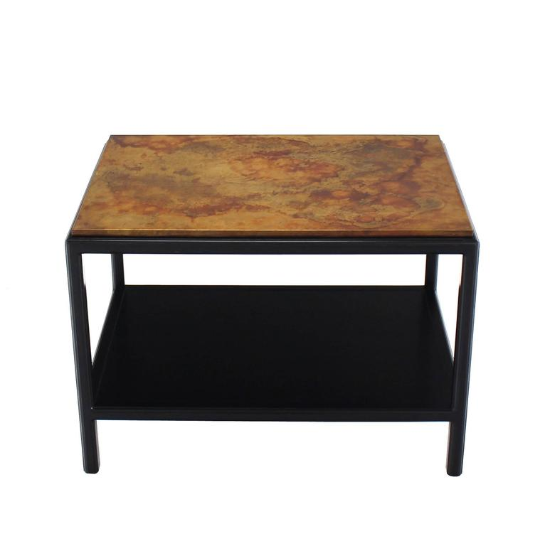 American John Stuart Abonized Walnut Base Copper Top Rectangular Side End Table Stand For