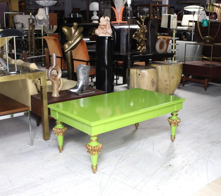 Salad Green Lacquer Gold Hollywood Regency Rectangular Coffee Table 2