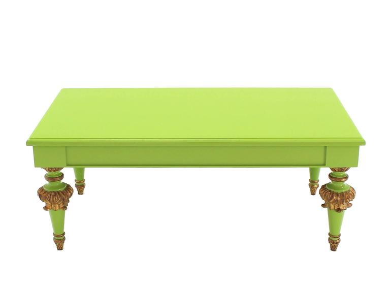Salad Green Lacquer Gold Hollywood Regency Rectangular Coffee Table 3