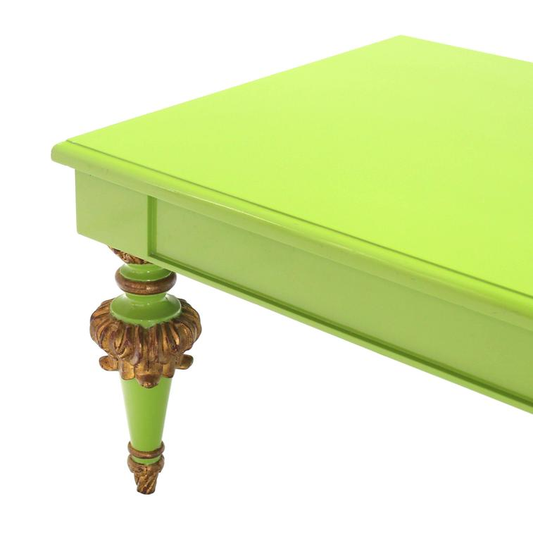 Salad Green Lacquer Gold Hollywood Regency Rectangular Coffee Table 4