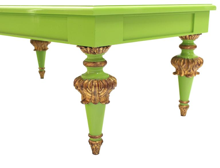 Salad Green Lacquer Gold Hollywood Regency Rectangular Coffee Table 5