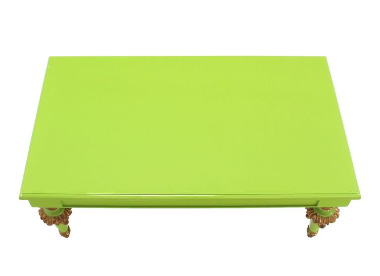 Salad Green Lacquer Gold Hollywood Regency Rectangular Coffee Table 6