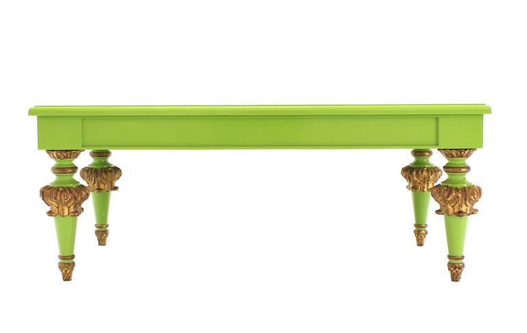 Salad Green Lacquer Gold Hollywood Regency Rectangular Coffee Table 7