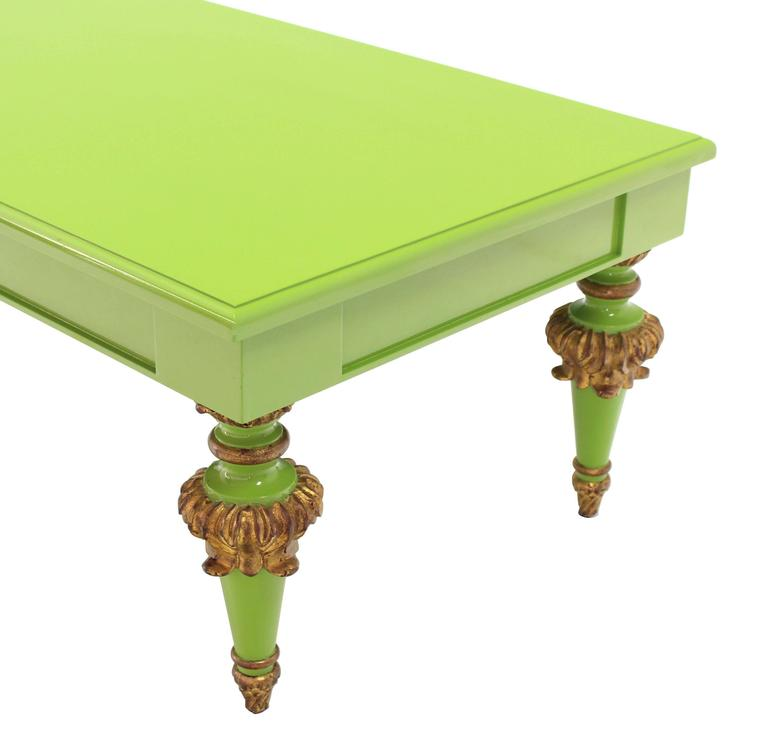 Salad Green Lacquer Gold Hollywood Regency Rectangular Coffee Table 8