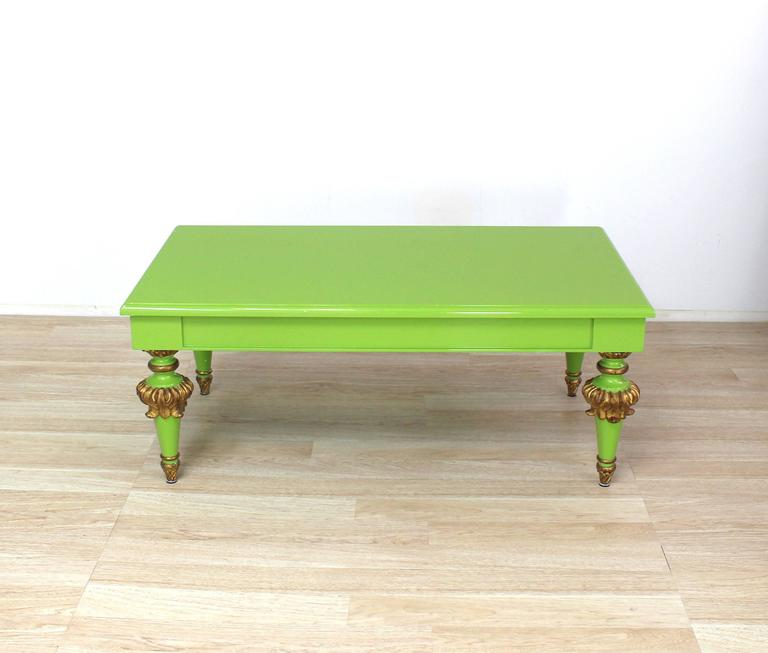 Salad Green Lacquer Gold Hollywood Regency Rectangular Coffee Table 9