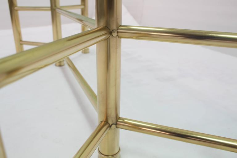 American Solid Brass Tube Glass Top Rectangular Coffee Table For Sale