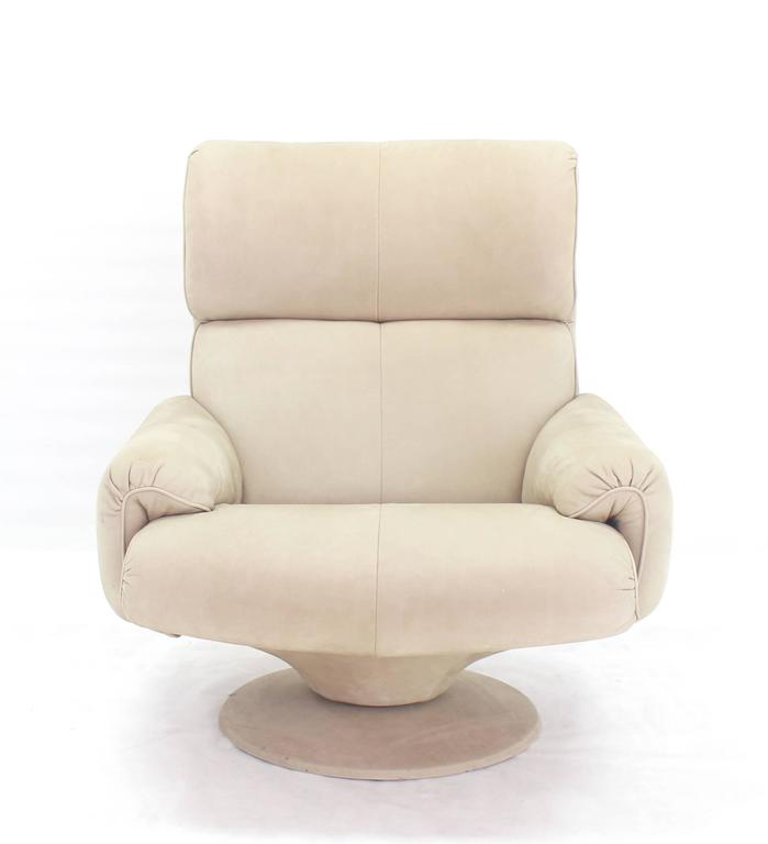Mid-Century Modern Beige Suede Leather Lounge Chair with Matching Ottoman For Sale