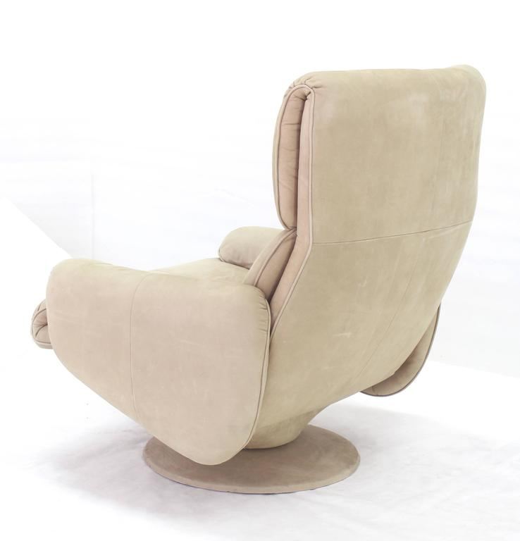 American Beige Suede Leather Lounge Chair with Matching Ottoman For Sale