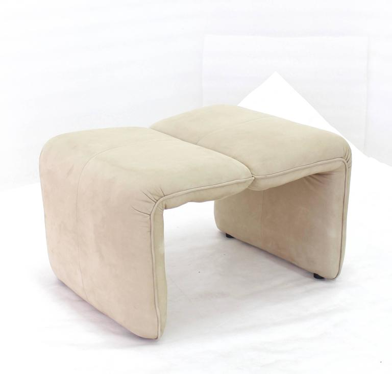 Beige Suede Leather Lounge Chair with Matching Ottoman For Sale 2