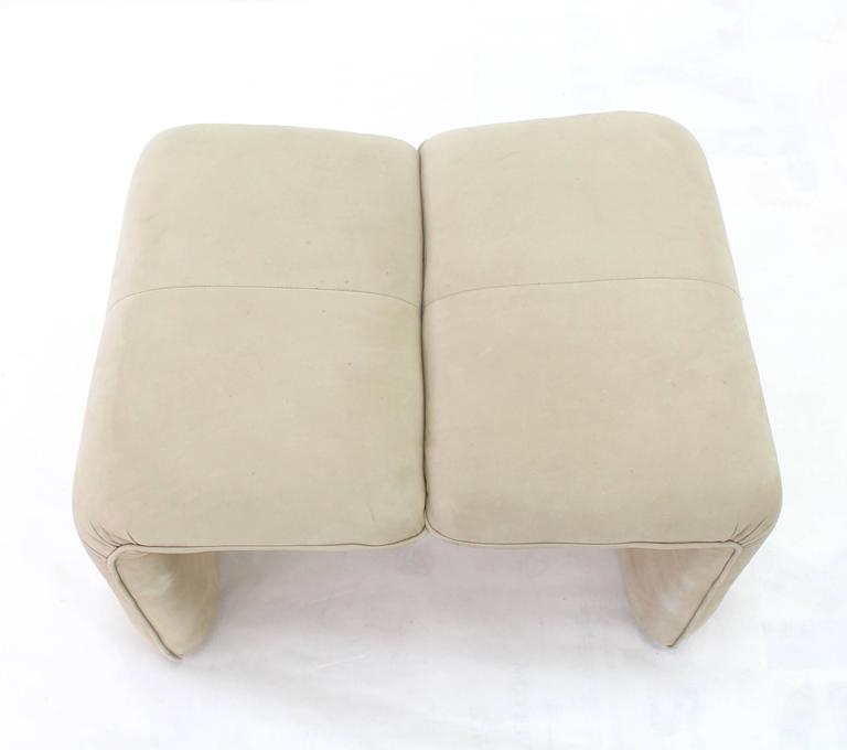 Beige Suede Leather Lounge Chair with Matching Ottoman For Sale 3