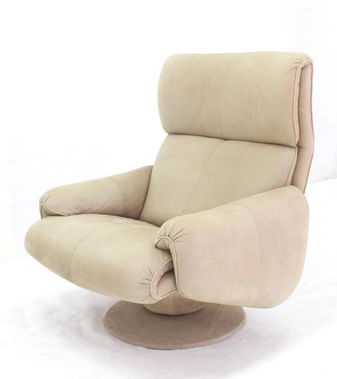 Beige Suede Leather Lounge Chair with Matching Ottoman For Sale 4