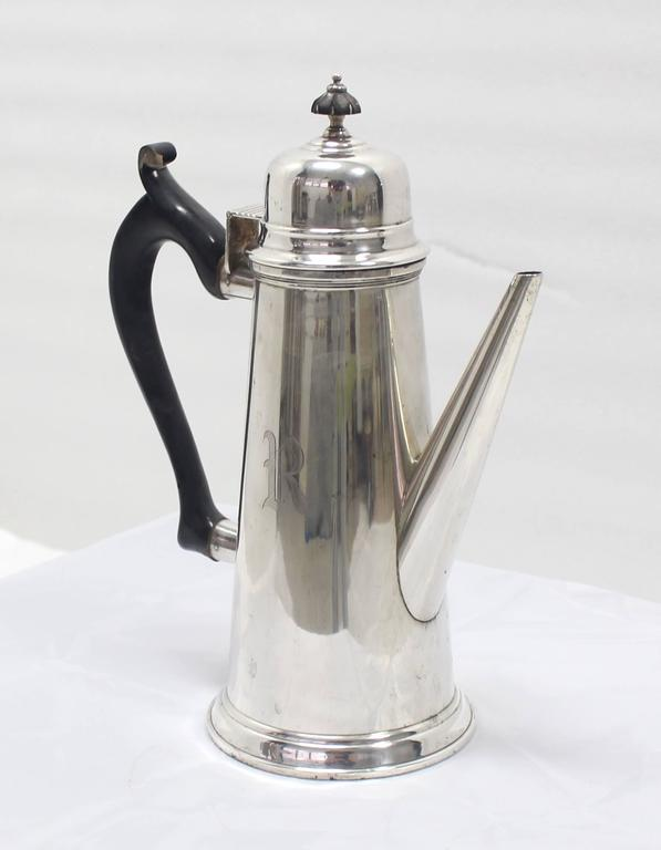 Mid-Century Modern Sterling Silver Tea Coffee Pot Jacob Hurd by Frank Whiting For Sale