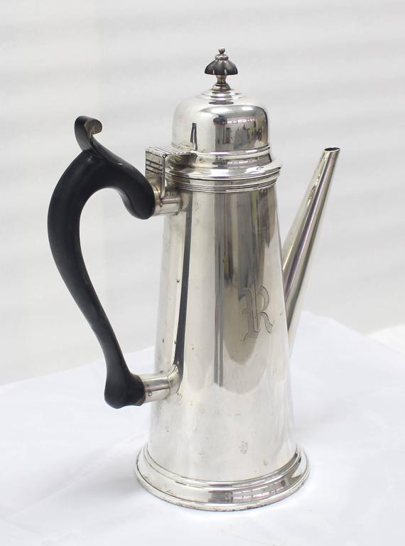 American Sterling Silver Tea Coffee Pot Jacob Hurd by Frank Whiting For Sale