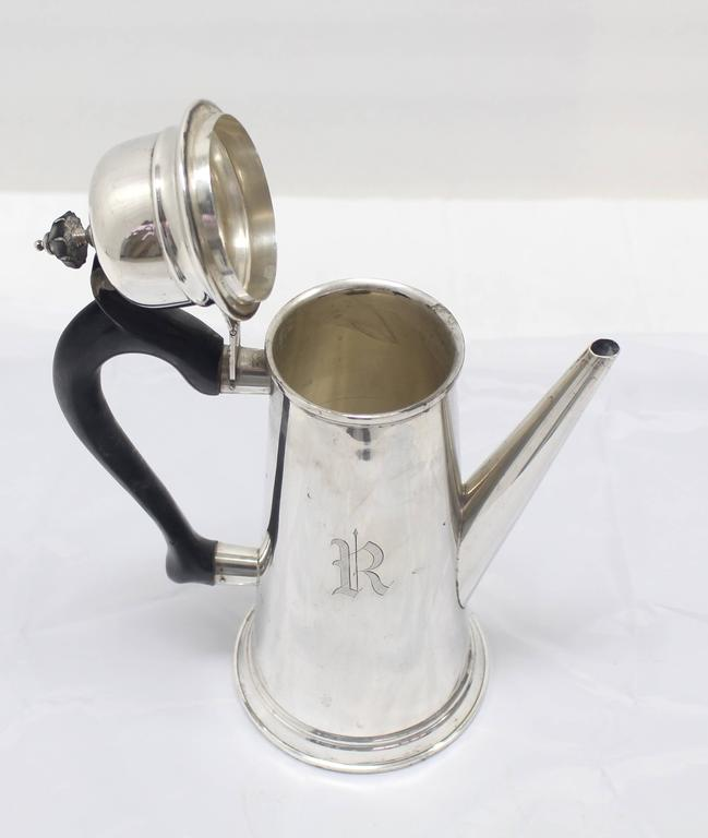 20th Century Sterling Silver Tea Coffee Pot Jacob Hurd by Frank Whiting For Sale