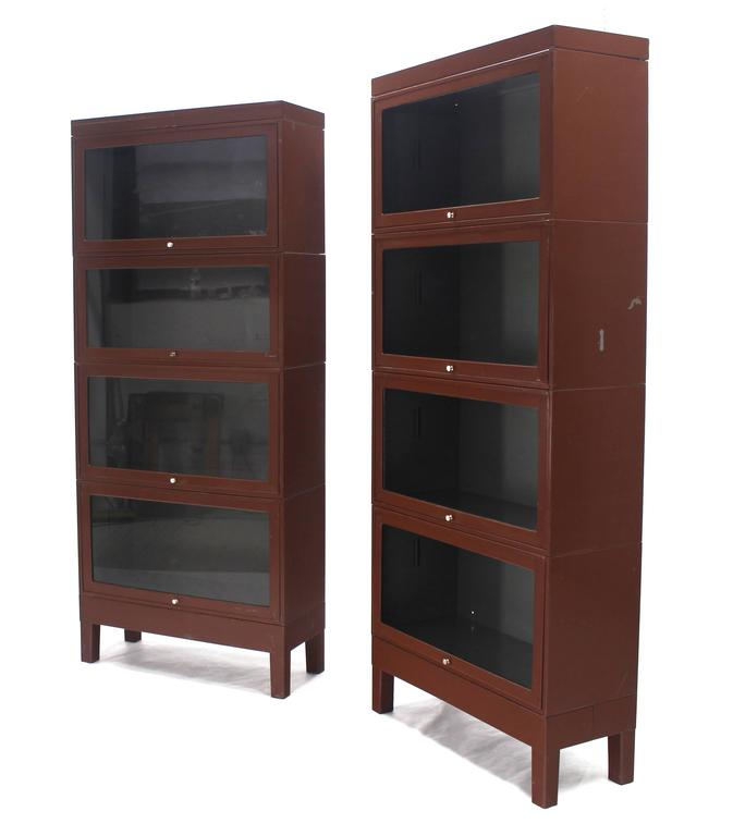 Steel Barrister Bookcase: Pair Of Metal Industrial Barrister Four Sections Bookcases