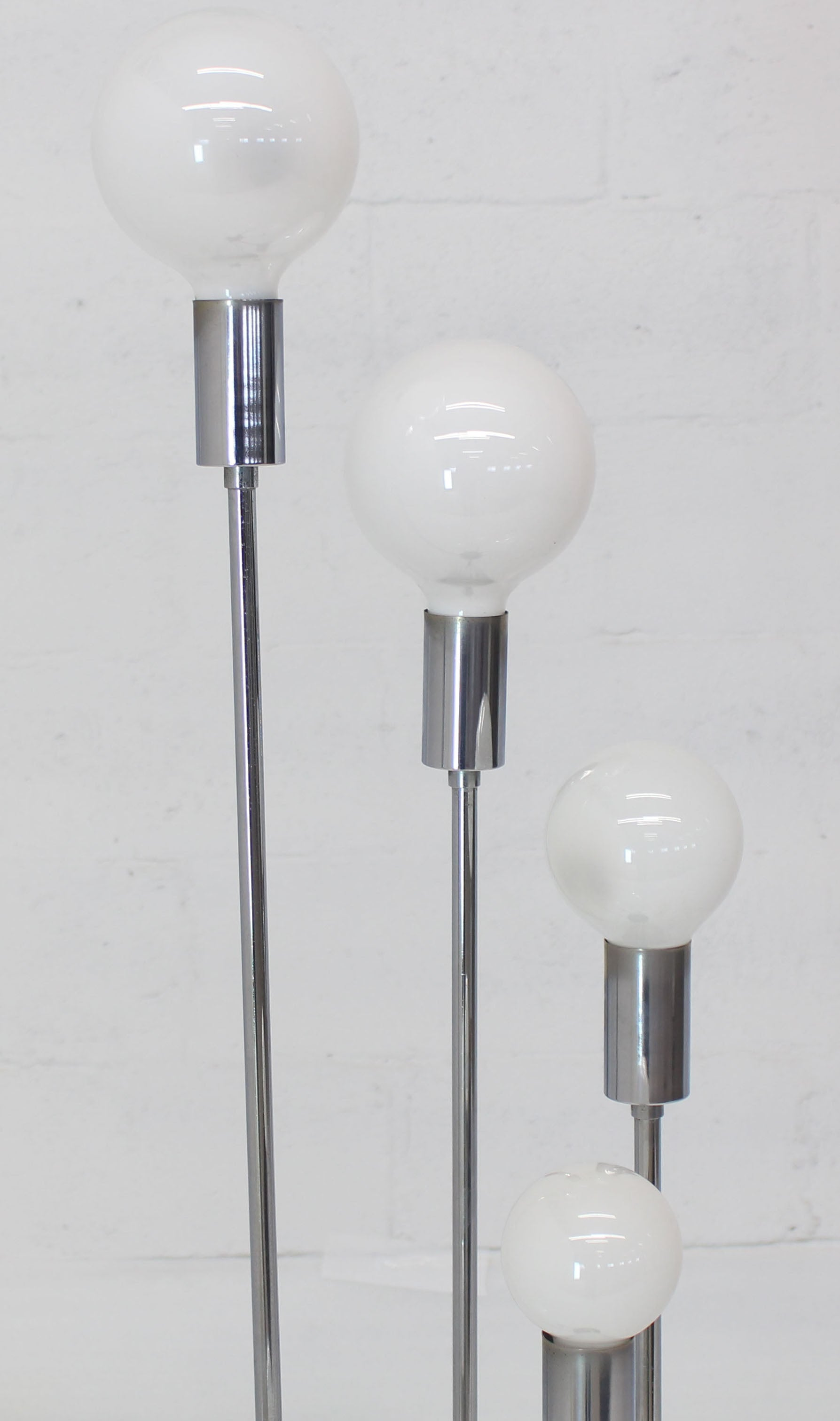 3 Way 5 Globes Spiral Chrome Mid Century Modern Floor Lamps On Round Base At 1stdibs