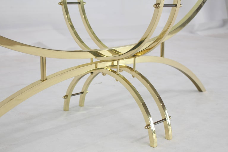 Mid-Century Modern Oval Brass & Glass Coffee Table  For Sale