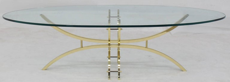 American Oval Brass & Glass Coffee Table  For Sale