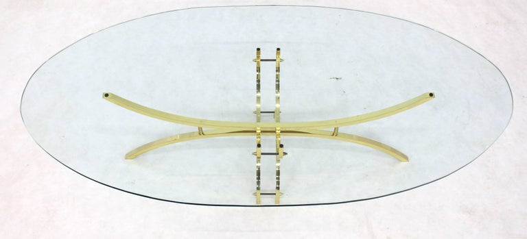 Polished Oval Brass & Glass Coffee Table  For Sale