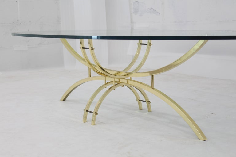 20th Century Oval Brass & Glass Coffee Table  For Sale