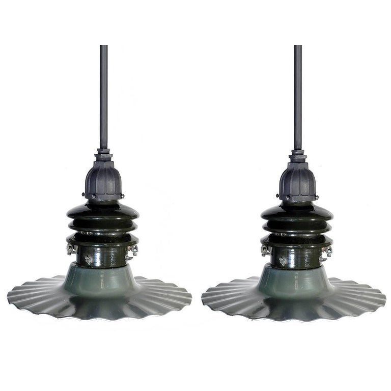 Matching Pair of Radial Wave Street Lamps