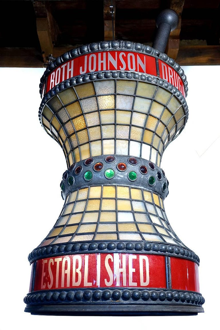 American Jeweled Leaded Glass Apothecary Trade Sign For Sale